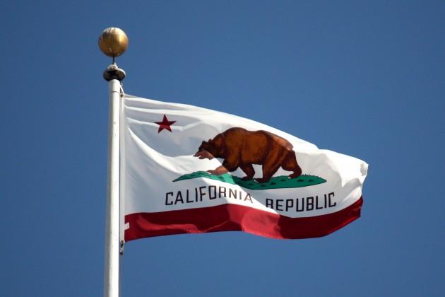 Bandeira com urso que simboliza a República da Califórnia.