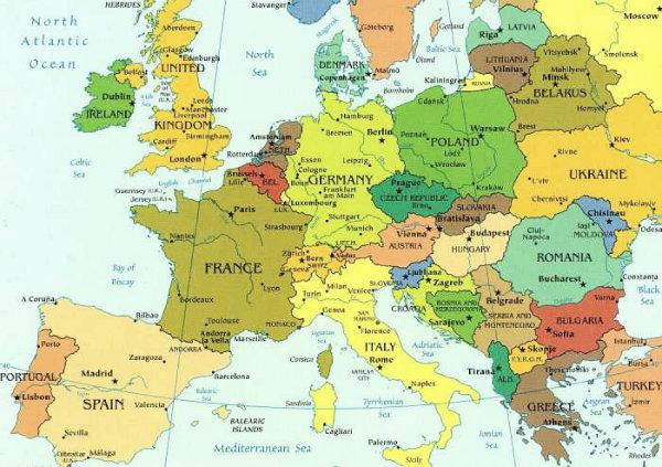 Os países da Europa que poderá visitar em uma viagem.