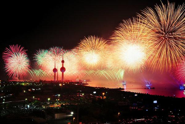 O fim do ano é celebrado com uma linda queima de fogos.
